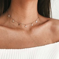 New Simple Women Chocker Gold Chain Star Choker Necklace Jewelry Gifts