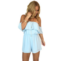 Bold Shoulder Romper In Powder Blue