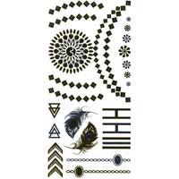 Feather/Rings Metallic Temporary Tattoos Gold One Size For Women 25685362101