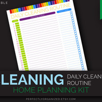 Daily Cleaning Routine, Cleaning Tasks Schedule To Do List || Editable DIY Colorful Planner Binder Organizer || Household PDF Printables