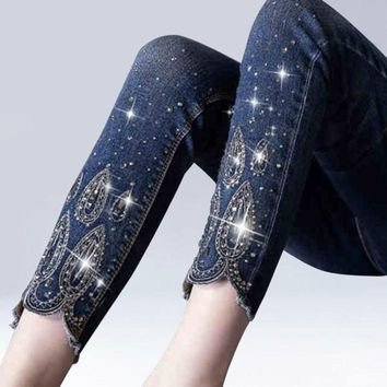 Rhinestone Beading Ankle Length Stretch Pencil Skinny Jeans
