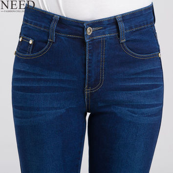 2016 Women High Waist Jeans Woman Stretch High Waisted Jeans Skinny Plus Size Ladies High Waist Straight Jeans For Women