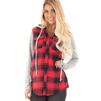Red Plaid Hooded Button Down Jacket