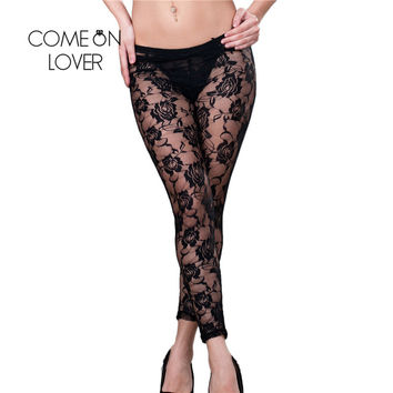 T2022 Lace With Faux Leather Leggings Hot Sale Black Lace Patchwork Ripped Leggings Women Leggings Fashion Sexy Leggings