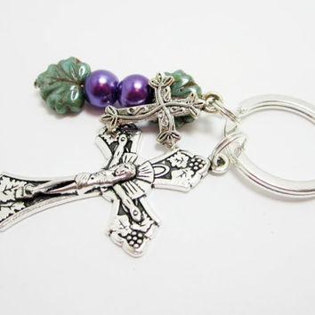 Cross Keychain Christian Key Chain Confirmation Baptism Gift Grape Vines Czech Leaf Beads Glass Pearls
