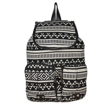 ONETOW Day-First? Black Aztec Travel Bag Canvas Lightweight College Backpack