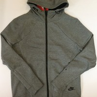 KUYOU Nike Womens Tech Fleece Full Zip Up Hoodie Grey 806329-091
