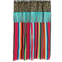Pink Serape with Turquoise Fringe Shower Curtain