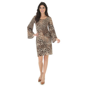 Wrangler Women's Bell Sleeve Animal Print Shift Dress