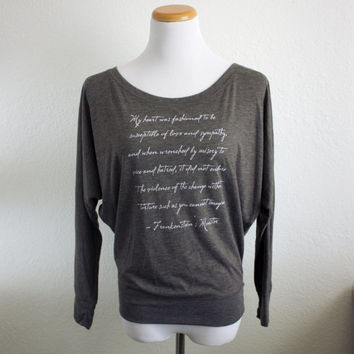 Frankenstein's Monster Long Sleeve Quote Shirt- Mary Shelley Quote- Unique Halloween Shirt Women's Literary Flowy Dolman Sleeve Shirt