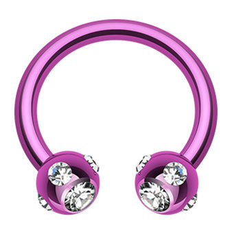 Blackline PVD Aurora Glass-Gem Ball Horseshoe Circular Barbell