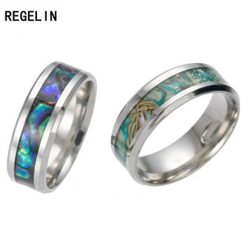 REGELIN Vintage Colorful shell Free Shipping stainless steel Ring Mens Jewelry for Men lord Wedding Band ring for lovers