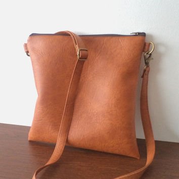 Vegan Leather Bag, Simple Crossbody Bag, Everyday Purse, Shoulder Bag