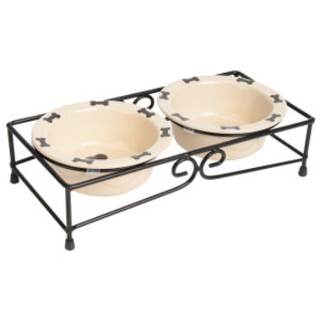 Top Paw Double Diner Dog Stand With Bowls