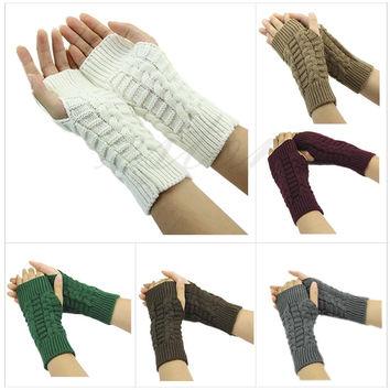 "Z101""Pretty Stylish Winter Hand Arm Crochet Knitting Wool Mitten Fingerless Gloves Free shipping"