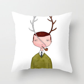 One real antler, one imagined Throw Pillow by Marc Johns | Society6