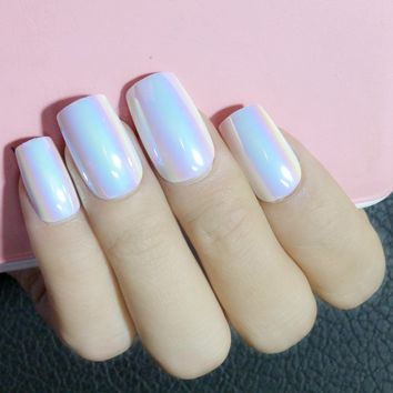 Holo White Long False Nails Acrylic Chameleon Mirror Fake Nails Blue Purple DIY Nail Art Manicure Tools Z142