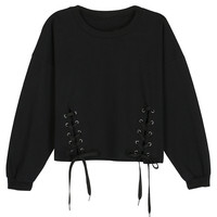 Black Lace Cropped Sweatshirt