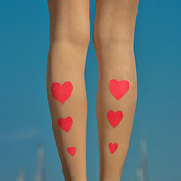 Hearts Print Sheer Footless Tights Powder & Pink - TrendyLegs