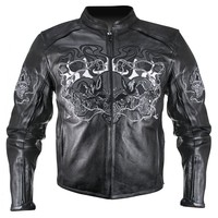 Xelement B95010 Mens Black Armored Cruiser Motorcycle Jacket with Reflective Ev