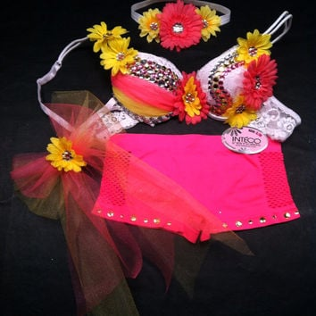 EDC, rhinestone & daisy Rave, Hippie, costume, dance, festival neon pink and yellow bra top, shorts and headband rave outfit