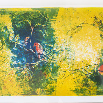 """Vintage Signed Hoi Lebadang """"Voliere"""" Bird Lithograph, Abstract Mid Century Print with Authentication Paper (Framed)"""