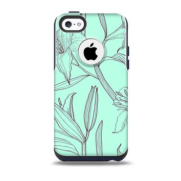 The Teal & Brown Thin Flower Pattern Skin for the iPhone 5c OtterBox Commuter Case