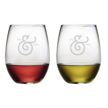 Mr. & Mrs. Ampersand Stemless Wine Glass - Set of 2