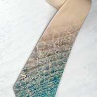 "Mens ""Ocean"" necktie. Tie for trendy traveler, optimist or stylish dude with unique taste in beach style"