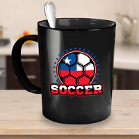 Chile Soccer Ball Coffee Mug 11 or 15oz White or Black Ceramic Cup, Soccer Gift, Soccer Player, Soccer Mug, Chile Flag