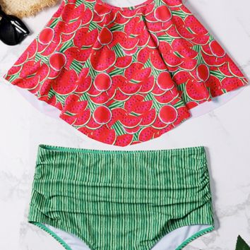 Watermelon Flounce High Waisted Bikini Sets