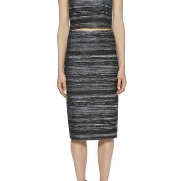 Jacquard Striped Pencil Skirt