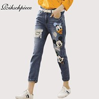 Rihschpiece Boyfriend Women Jeans Ripped High Waist Denim Pants Mickey Mouse Stretch Patch Trousers Embroidered Jeans RZF969
