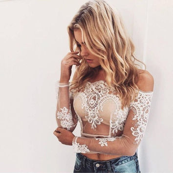 Sexy Club Wear Women Shirts Blouses White Elegant Ladies Lace Transparent Long Sleeve Womens Tops Blouses Chemise Femme #53 GS