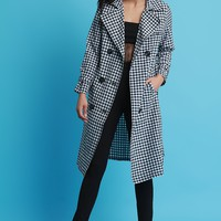 Gingham Double-Breasted Trench Coat