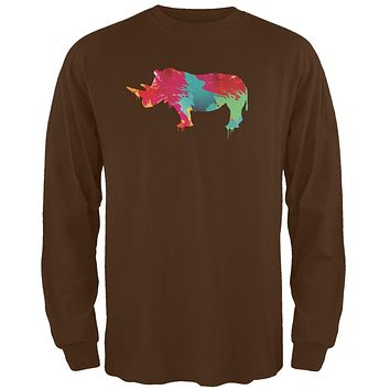 Splatter Rhino Brown Adult Long Sleeve T-Shirt