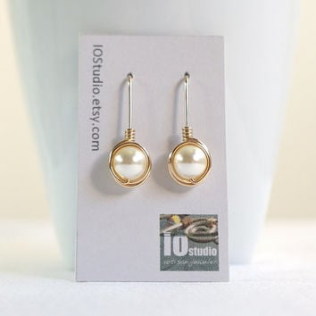 Bridesmaid Swarovski Cream Pearl Earrings, Earing Set, Wire Wrapped Earrings, Bridesmaid Jewelry