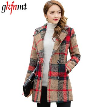 2017 Women Plaid Coat Autumn Winter Long Jacket Female Turn-Down Collar Blends Woolen Warm Slim Overcoat Femininos Clothing