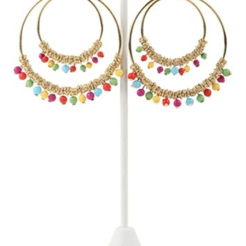 Circle Earring with Hanging Beads