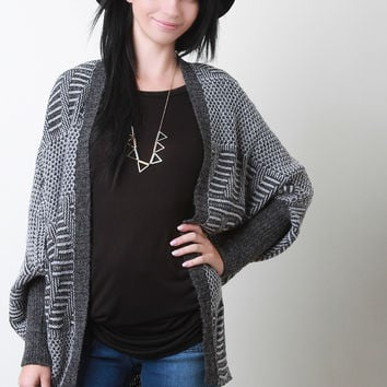 Mixed Pattern Knit Dolman Cardigan