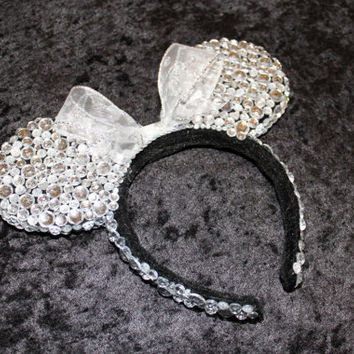 Silver & White Minnie Mouse Ears  MADE TO ORDER by GlitzyVault