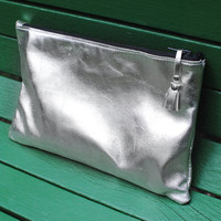Genuine Leather Metallic Silver Clutch / Evening Bag With Tassel Zipper Pull