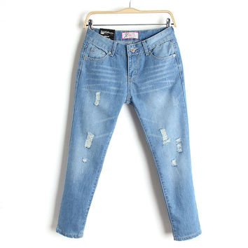 Summer Ripped Holes Rinsed Denim Cropped Pants Jeans [6332308612]