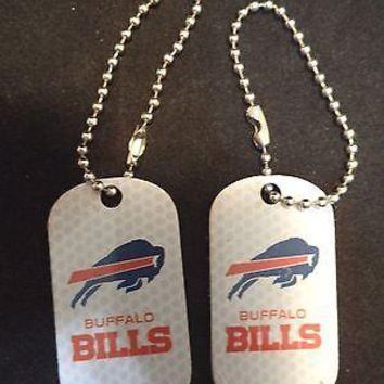 2 NFL Buffalo Bills Red White Logo Dog Tags Key chains backpacks party Gift