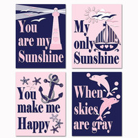 You are my sunshine nautical nursery wall art baby girl room decor kids poster navy blue pink artwork dolphin decoration shower toddler gift