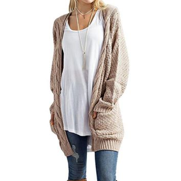 Laamei Autumn Winter Knitted Crochet Sweater Warm Women Long Twisted Cardigan Dress Female Open Stitch Cardigan Coat Women Z25