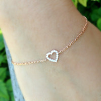 Rose Gold Heart Bracelet, Cubic Zir.. on Luulla