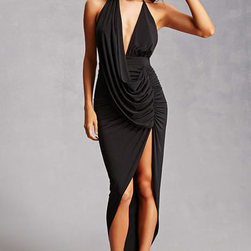Drape Front Halter Dress