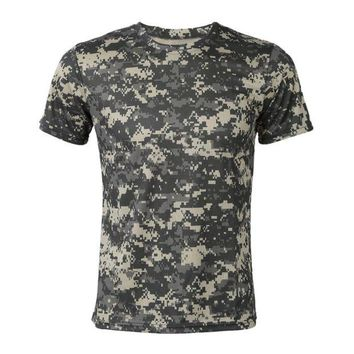 NOVO5 Camouflage T-shirt Men Breathable Army Tactical Combat T Shirt Green
