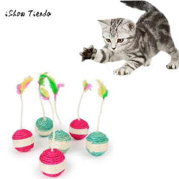 Pet Cat Kitten Toy Rolling Sisal Scratching Cat Toy Funny Kitten Play Dolls Creative pet cat supplies Interactive Feather Toys